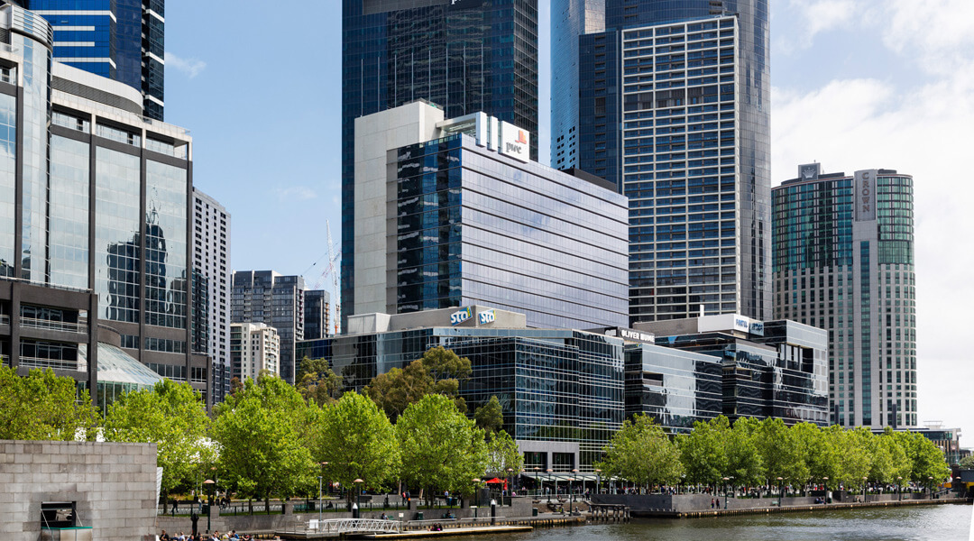Riverside Quay positioned on the banks of the Yarra River in Southbank